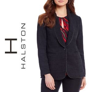 H HALSTON  Shawl Collar Blazer Black NWT